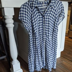 Free People Blue and White Gingham Flowy Dress